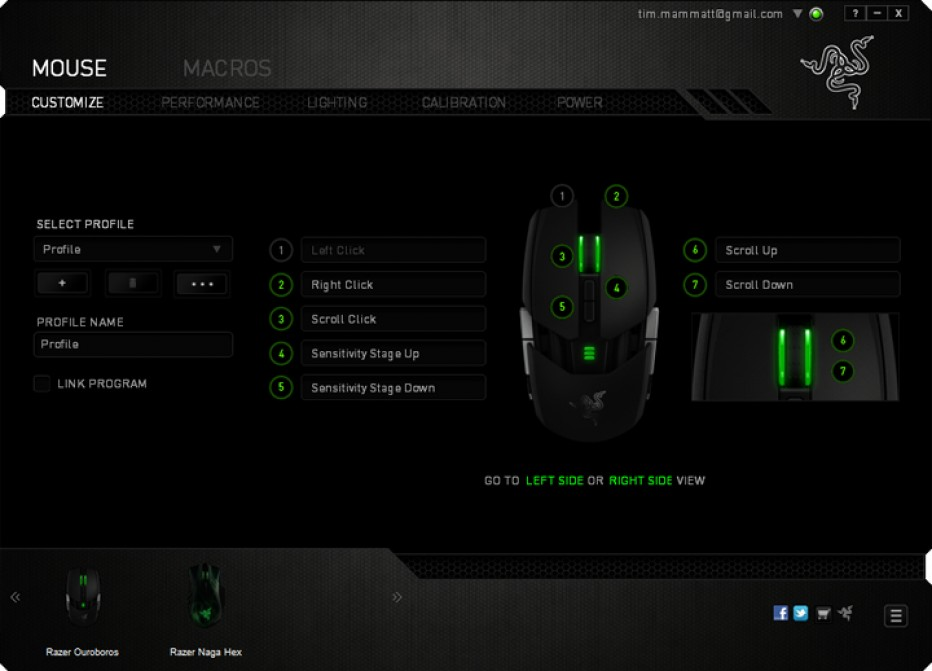 Razer Ouroboros , gaming mouse with 11 programmable Hyperesponse buttons